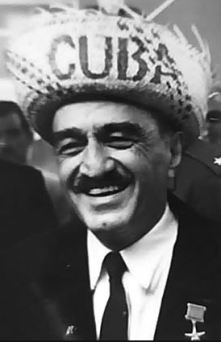 Anastas Mikoyan in Cuba in the 1960s with straw hat.