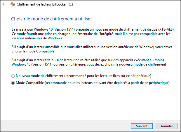 bitlocker mode de chiffrement