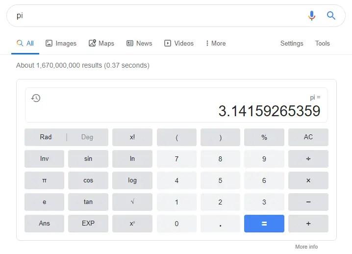 Calculatrice google Pi