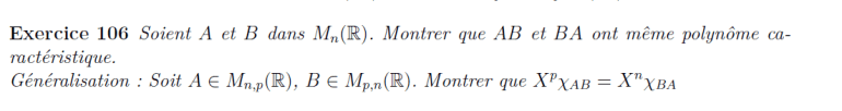 Commutativité du polynôme caractéristique
