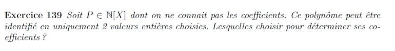 Détermination de polynôme à coefficients entiers