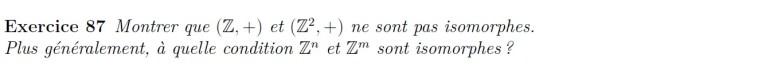 Isomorphisme dans le groupe Z