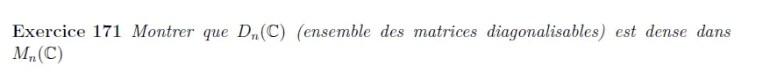Densité des matrices diagonalisables