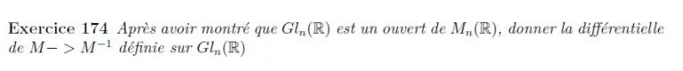 Différentielle de l'inverse d'une matrice