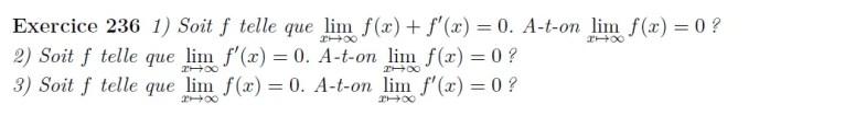 Equation différentielle et limite