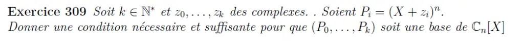 Base de polynômes complexes