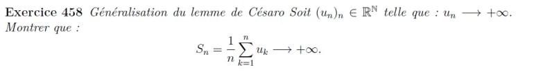 Lemme de Césaro généralisation