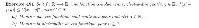 Fonctions höldériennes - propriétés