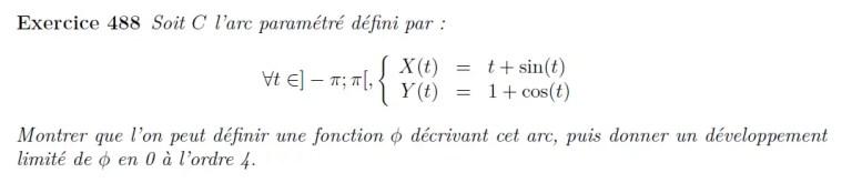 Développement limité courbe paramétrée