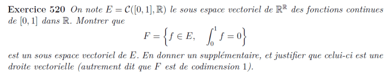 Espace vectoriel des fonctions continues