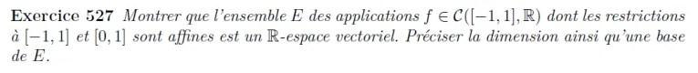 Espace vectoriel des applications dans R