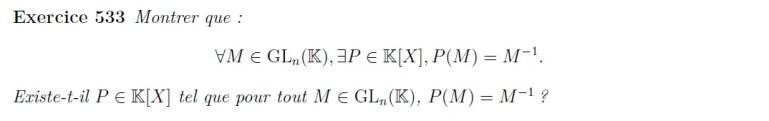 Caractérisation des matrices inversibles