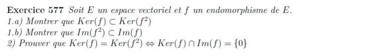Etude de noyaux et d'images espaces vectoriels