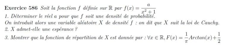 Loi de Cauchy probabilités