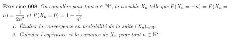 Variable aléatoire, espérance, variance, convergence en probabilité