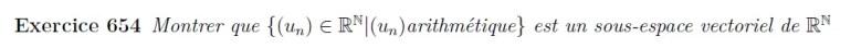 Sous espace vectoriel des suites arithmétiques