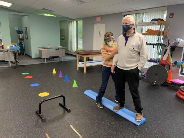 Ruth Kaplan, DPT creates a custom obstacle course tailored to treat a patient's specific issues.