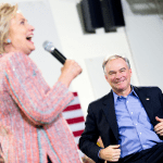 Hillary Clinton and Tim Kaine at a rally at Northern Virginia Community College in Annandale.