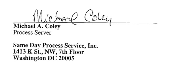 New Process Server Michael Coley in DNC Fraud Lawsuit