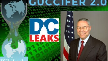 Logos from WikiLeaks, Guccifer 2.0, and DCLeaks, along with a portrait of Colin Powell.