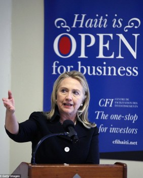 Hillary Clinton giving a speech to promote investment in Haiti