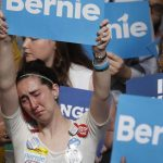 Bernie Sanders supporter crying at Democratic National Convention. MARY ALTAFFER/ASSOCIATED PRESS