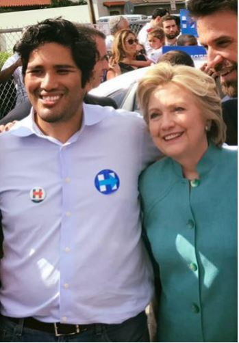 Juan Cuba with Presidential Candidate Hillary Clinton, posted on Cuba's Facebook Page on 11/5/16.