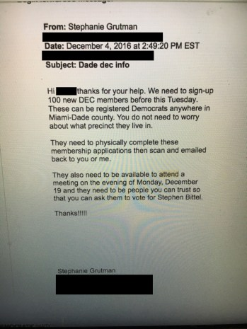 Email from Stephanie Grutman, recruiting Bittel supporters, dated 12/4/16