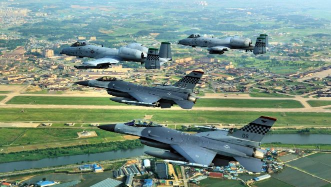 F-16 Falcons and A-10 Thunderbolt IIs fly over the Republic of Korea. Airmen from Osan Air Base joined Airmen from across the world to participate in Red Flag Alaska 09-03, schedules for July 23 - Aug. 7. The exercise is considered by many as the most intense training opportunity available to combat flying units. (U.S. Air Force photo/Lt. Col. Judd Fancher)