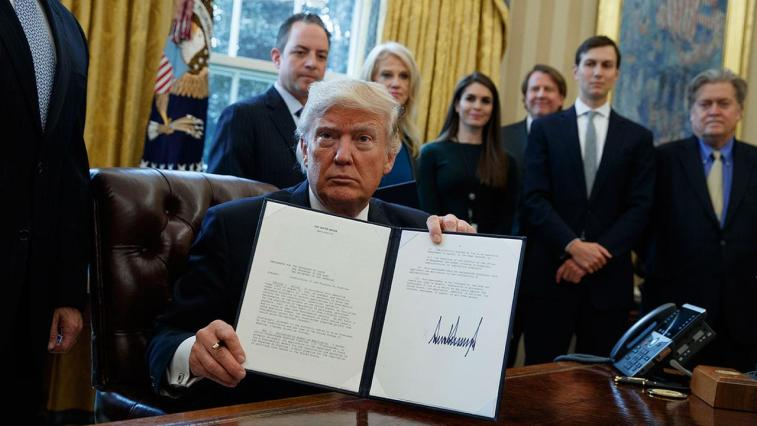 Trump shows executive order