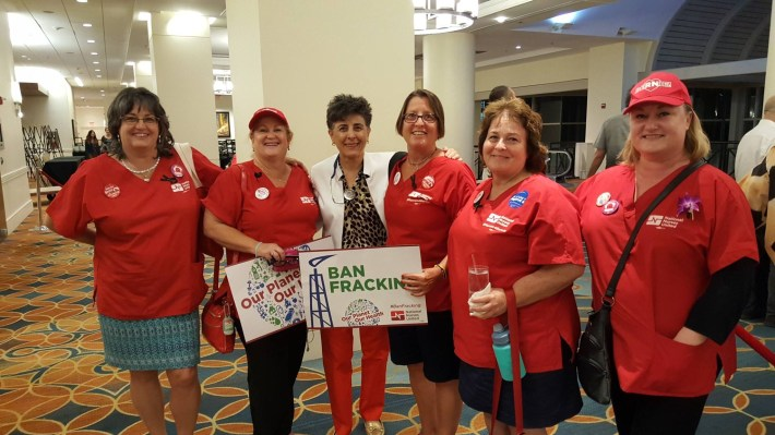 Marggie stands with the Nurse's Union Delegates at the National Convention.
