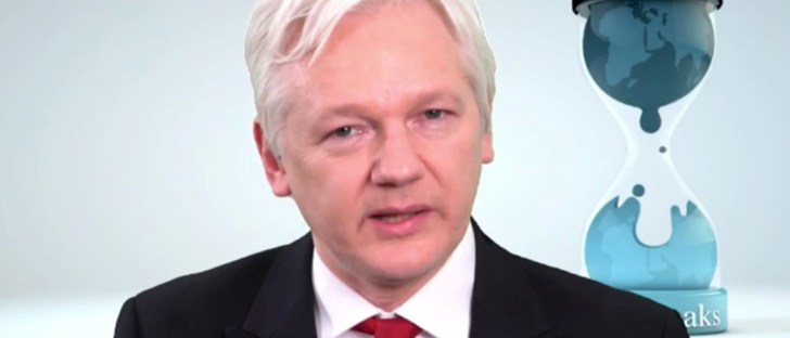 Julian Assange speaks at the Wikileaks press conference on the Central Intelligence Agency