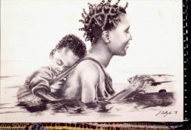 tribal_drawing___mother_and_child_by_portraitsbyhand-d5s8kec
