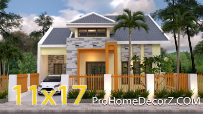 1.5 Story House Plans 11x17 Meters 36x56 Feet 4 beds