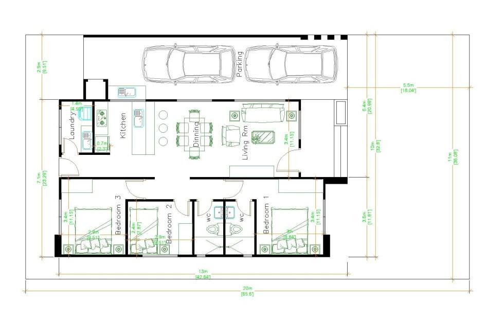 House Layout Design 10x13 Meter 33x43 Feet 3 Beds Layout floor plan