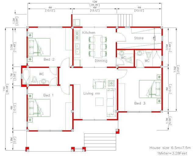 House Plan Drawing 12x11 Meter 39x36 Feet 3 Beds floor plan