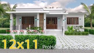 House Plan Drawing 12x11 Meter 39x36 Feet 3 Beds