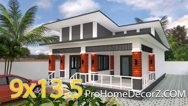 One Story House 9x13.5 Meter With 3 Bedrooms