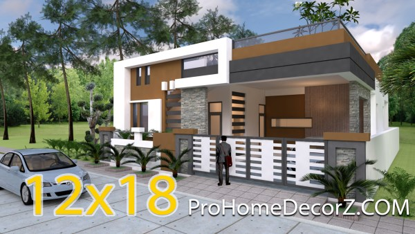 One Story House Design 40x60feet 12x18 meters 4 Beds