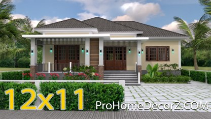 One Story House Plans 12x11 Meter 39x36 Feet 3 Beds