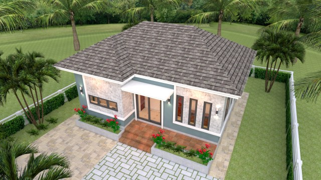 Simple Bungalow House Designs 8x6 Meter 26x20 Feet 2 Beds 2