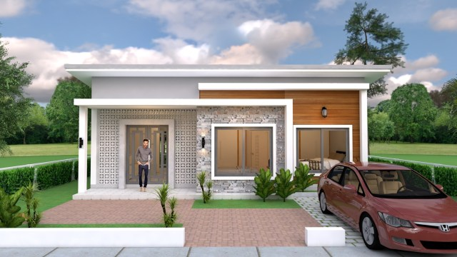 Simple House Design 10x8 Meter 27x34 Feet 3 Beds 1