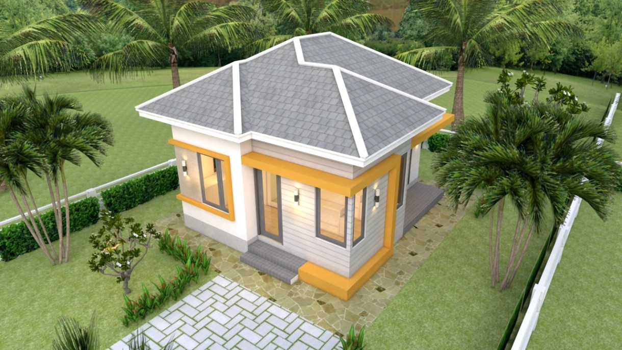 Small House Plans 5.5x6.5 with One Bedroom Hip roof