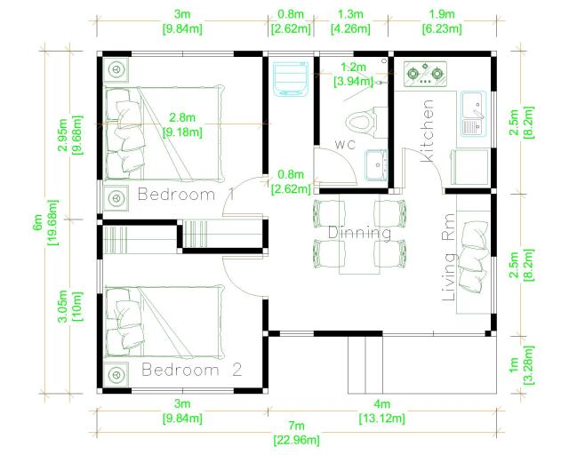 Simple Small House Design 7x6 Meter 23x20 Feet 2 Beds layout floor plan