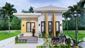 Single Story House Plans 6x8 Meter 20x27 Feet 2 Beds 3