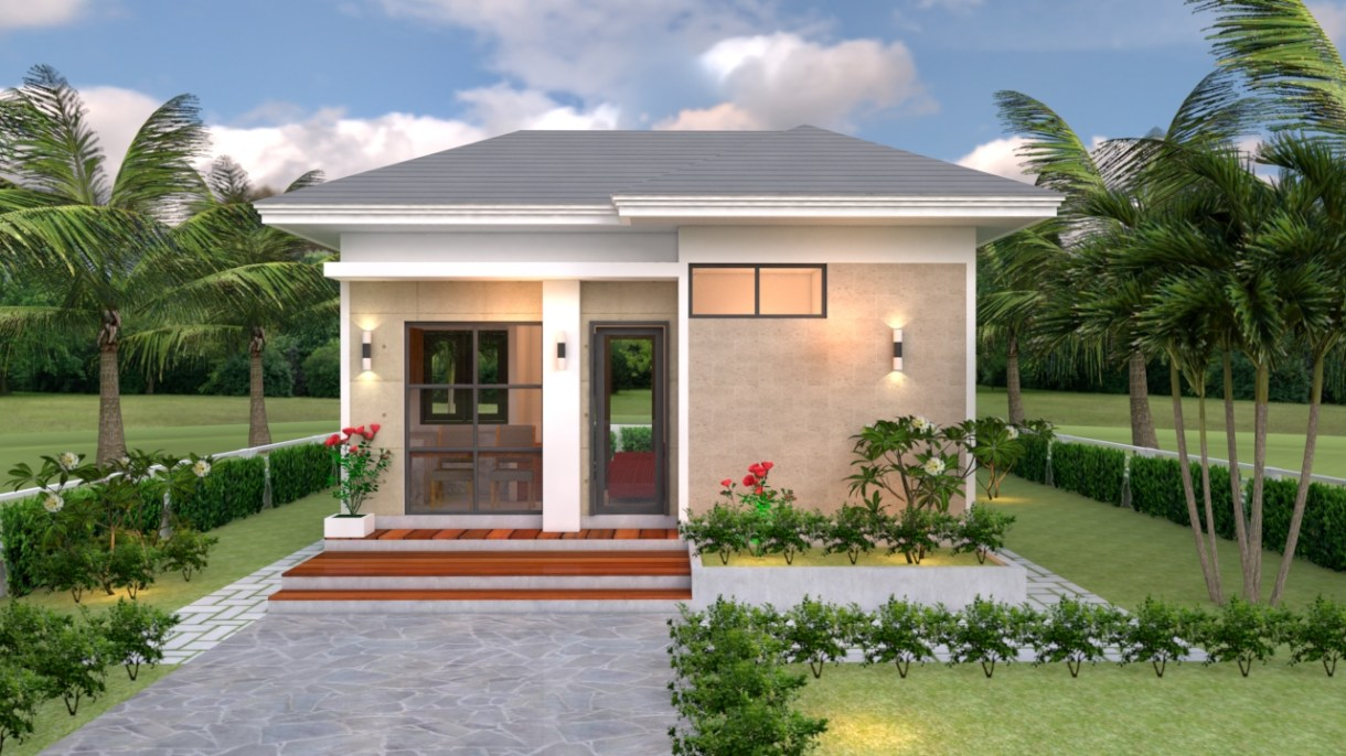 Small House Design Plans 5x7 Meter with One Bedroom Hip Roof Front House Elevation