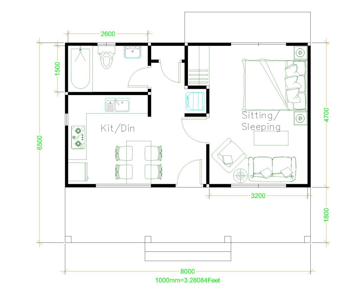 Small House Plans 8x6.5 with One Bedrooms Hip roof House Layout Floor Plan
