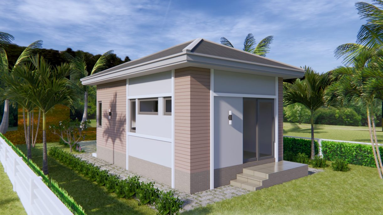 Small House Plans 4.5x7.5 with One Bedroom Hip roof Back House Elevation