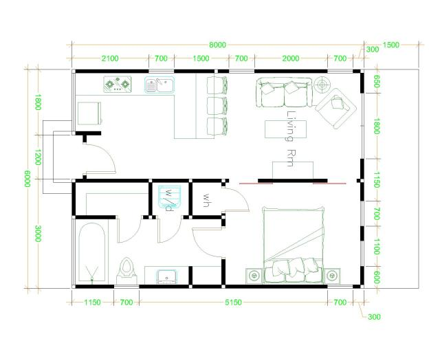 Small House Designs 6x8 Gable Roof Floor plan