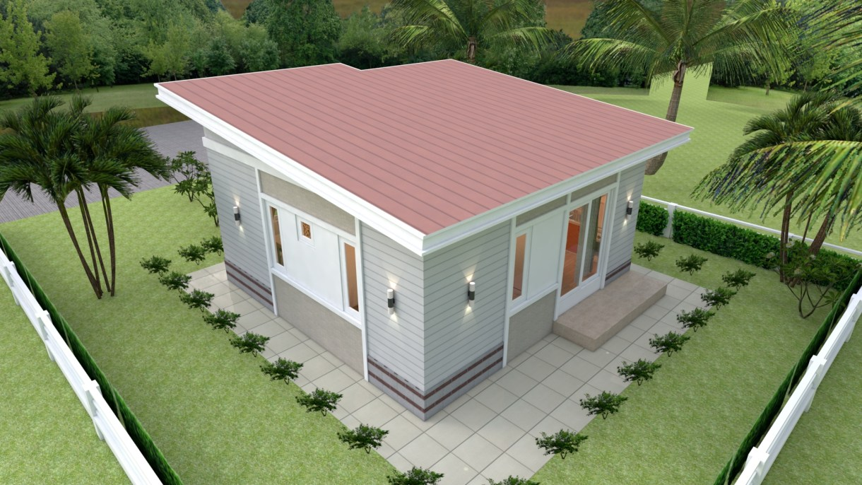 House Design 3d 7x7 Meter 23x23 Feet 2 bedrooms Shed Roof